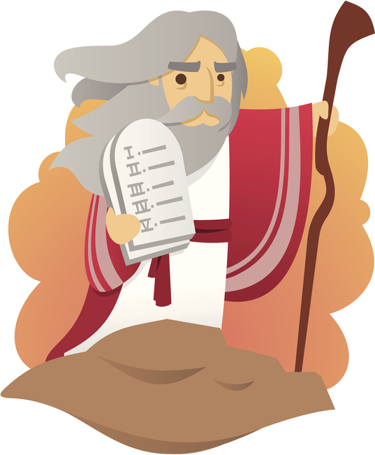 Cartoon Moses holding tablets