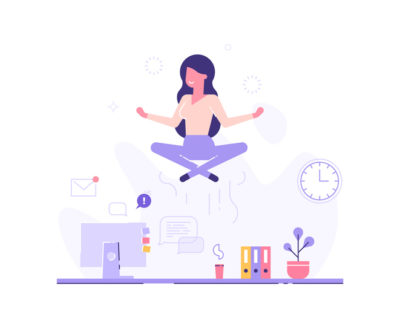 Woman meditating at work, levitating above her desk