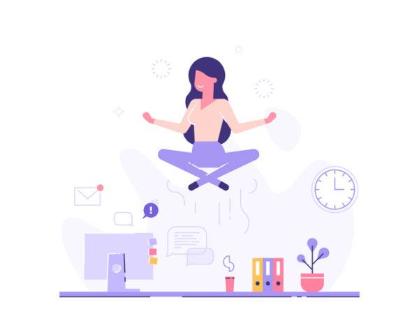 Woman meditating at work, levitating above her desk